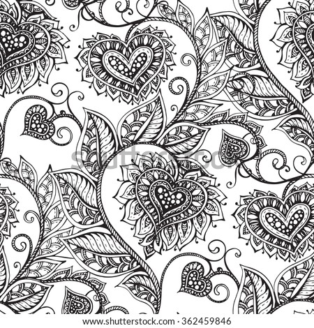 Vector seamless pattern with hand drawn ornate flowers with hearts in zentangle style.  - stock vector