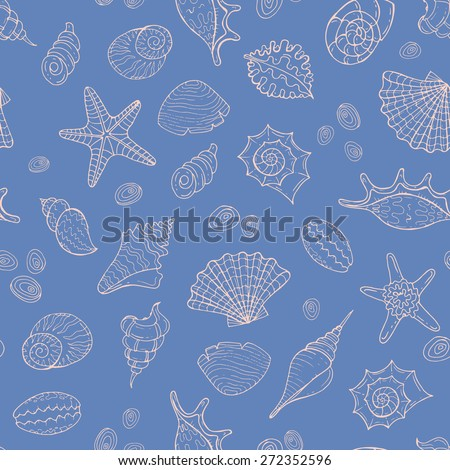 Vector seamless pattern with hand drawn sea shells on blue color. Background for use in design, web site, packing, textile, fabric