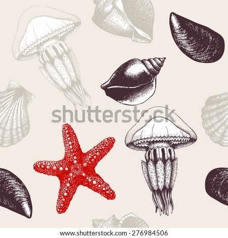 Vector seamless pattern with hand drawn sea shells, sea star and jellyfish sketch. Vintage background with sea shells.  - stock vector