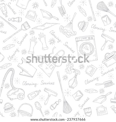 Vector seamless pattern with hand drawn symbols of cleaning services on white background. Background for use in design, web site, packing, textile, fabric - stock vector