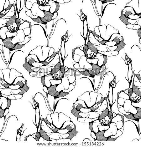 Vector seamless pattern with hand drawn white  flowers on white background. - stock vector