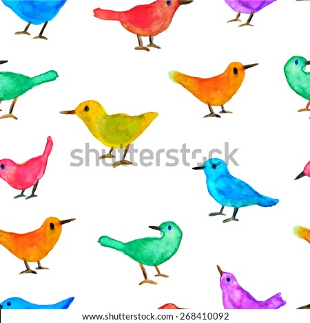Vector seamless pattern with hand painted watercolor birds. Vector graphics in childish style. Perfect for prints and patterns to use in nursery. - stock vector