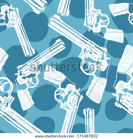 Vector seamless pattern with handguns (pistol vector, pistol gun, old revolver) - stock vector
