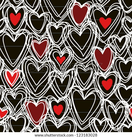 Vector seamless pattern with hearts of doodles made chalk on blackboard. Simple background Valentines Day's, wedding in hand drawn childish style. Abstract ornamental cute illustration for print, web