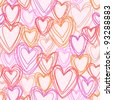 Vector seamless pattern with hearts of doodles. Romantic pink background Valentines Day's and wedding in hand draw style. - stock photo