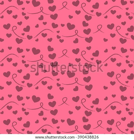 vector seamless pattern with hearts on a beige background