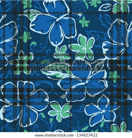 Vector seamless pattern with hibiscus and tartan plaid texture - stock vector
