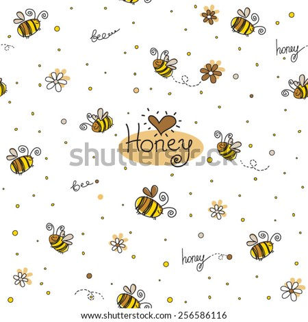 Vector seamless pattern with honey, hearts and bees in funny cartoon style - stock vector