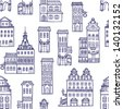 Vector seamless pattern with houses - stock