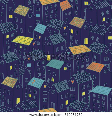 Vector seamless pattern with houses. Background can be used for textile design, web page background, surface textures, wallpaper - stock vector