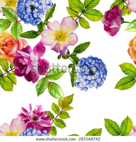 Vector seamless pattern with hydrangea and roses on a white background. Hand-drawn watercolor illustration - stock vector