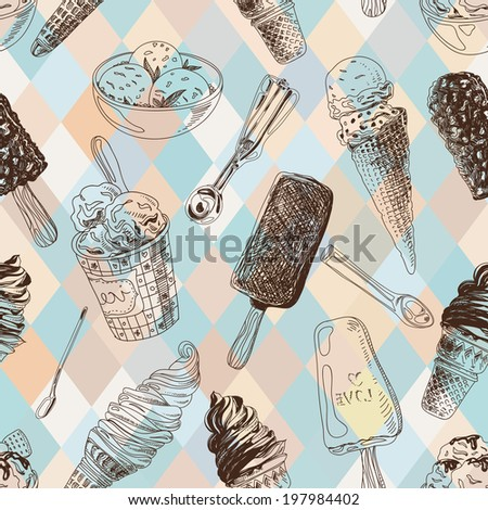 stock vector vector seamless pattern with ice cream modern stylish texture repeating abstract background 197984402 - Каталог — Фотообои «Еда, фрукты, для кухни»