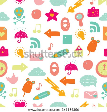 Vector seamless pattern with icons. Fun youth background. - stock vector