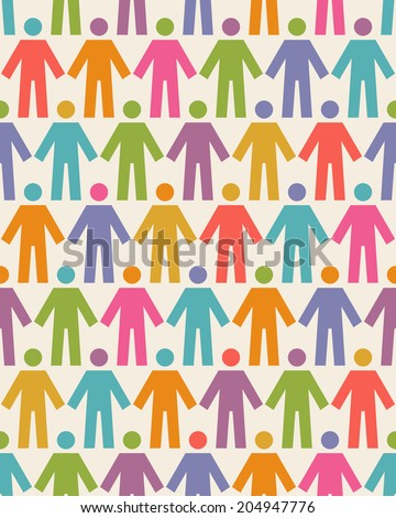 Vector seamless pattern with icons of people figure. Background with color silhouettes of persons. Illustration for print, web