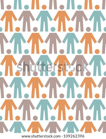 Vector seamless pattern with icons of people figure. White background with color silhouettes of persons. Abstract ornamental illustration with concept of team, humanity, multicultural society - stock vector