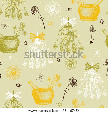 Vector seamless pattern with ink hand drawn camomile illustration. Vintage background with chamomile flowers sketch
