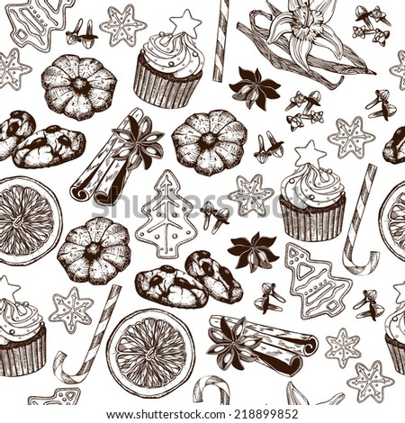 Vector seamless pattern with ink hand drawn Christmas and New year's elements and illustrations for holiday greeting card or invitation design. Vintage background with mulled wine and Christmas sweets - stock vector