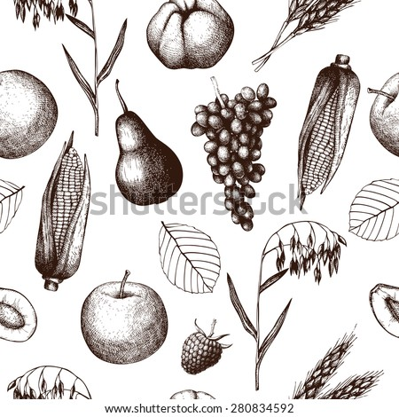Vector seamless pattern with ink hand drawn thanksgiving day illustration. Harvest vintage background with traditional autumn fruits and vegetables - stock vector