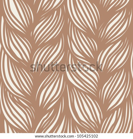 Vector seamless pattern with interweaving of brown braids. Ornamental background in the form of hairstyle in plaits . Abstract illustration with stylized texture of a knitted fabric - stock vector