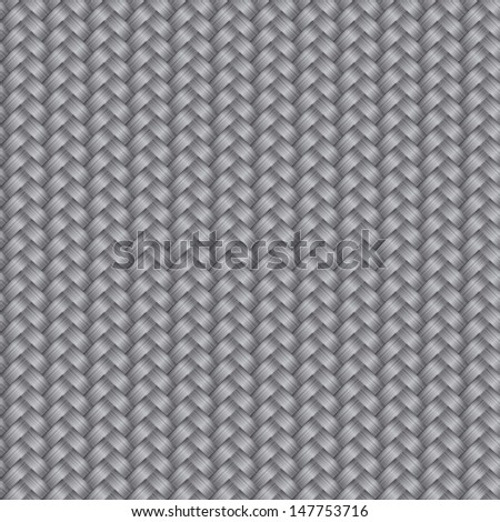 Vector seamless pattern with interweaving of gray braids. Abstract ornamental background in form of a knitted fabric.Illustration of stylized textured yarn or hairstyle with plaits close-up. EPS10 - stock vector