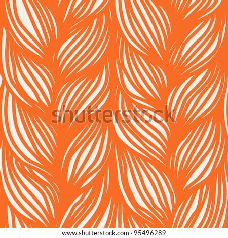 Vector seamless pattern with  interweaving of orange braids. Abstract background in the form of a knitted fabric. - stock vector