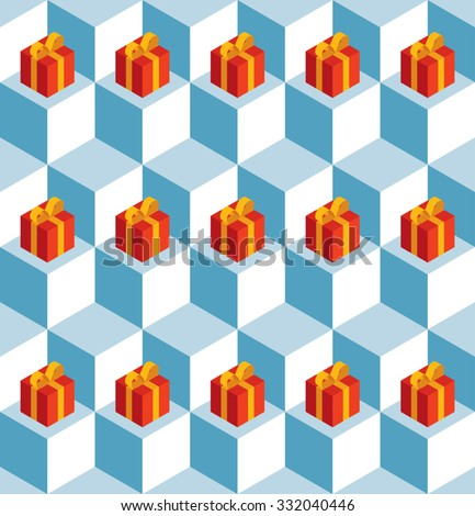 Vector seamless pattern with isometric white cubes and red gift boxes. - stock vector