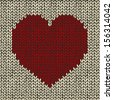 Vector seamless pattern with knitted red heart  - stock vector