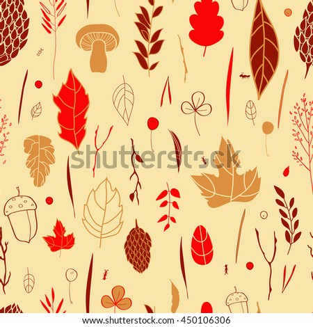 Vector seamless pattern with leaf, berries, blades of grass, autumn elements and templates. ocher, red, brown background. autumn hipster background. Bright pattern. Autumn template. - stock vector