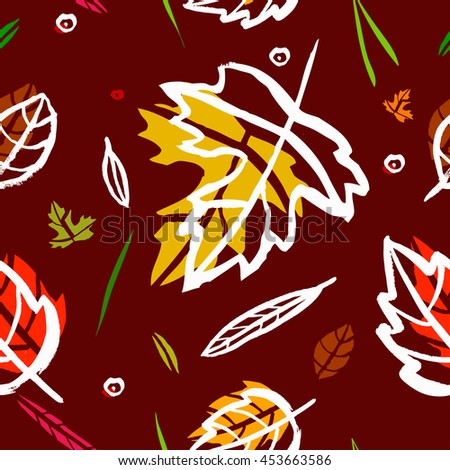 Vector seamless pattern with leaf, berries, blades of grass, autumn elements and templates on burgundy color background. autumn hipster background. Bright pattern. Autumn template - stock vector