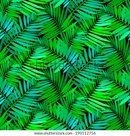 Vector seamless pattern with leafs inspired by tropical nature and plants like palm trees and ferns in multiple green colors and black - stock vector