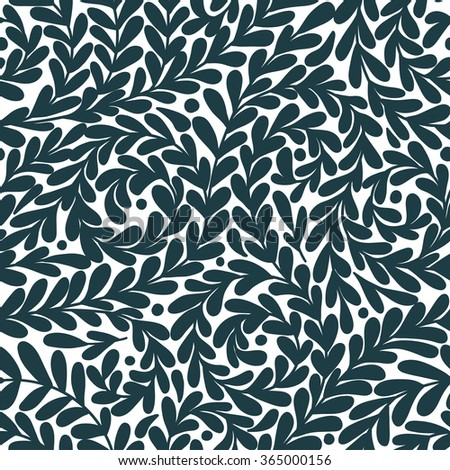 Vector seamless pattern with leaves. Blue background. Vector illustration, can be used as greeting card, textile, scrapbook, wallpaper, birthday and other holiday and cute background. - stock vector
