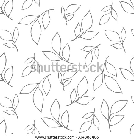 Vector seamless pattern with leaves. Floral background can be used in interior and fashion design. Simple and graphically expressive modern style. Hand drawn motifs in black and white colors. - stock vector