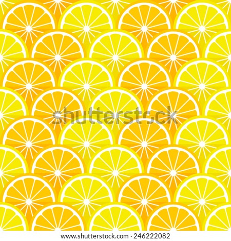 Vector seamless pattern with lemon and orange slices in the style of  flat. - stock vector