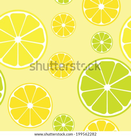 Vector seamless pattern with lemons yellow background - stock vector