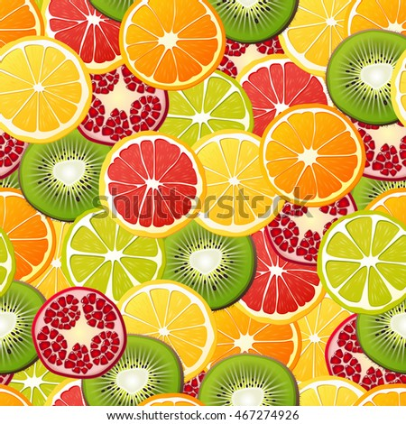 Vector seamless pattern with lime, lemon, orange, kiwi, grapefruit and pomegranate.