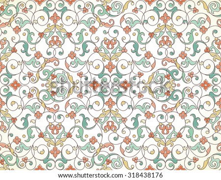 Vector seamless pattern with line art ornament. Vintage element for design in Eastern style. Ornamental lace tracery. Ornate floral decor for wallpaper. Endless texture. Outline pattern fill. - stock vector