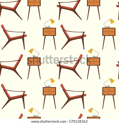 Furniture Design Elements vector seamless pattern hand drawn furniture stock vector