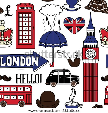 Vector seamless pattern with London symbols - stock vector