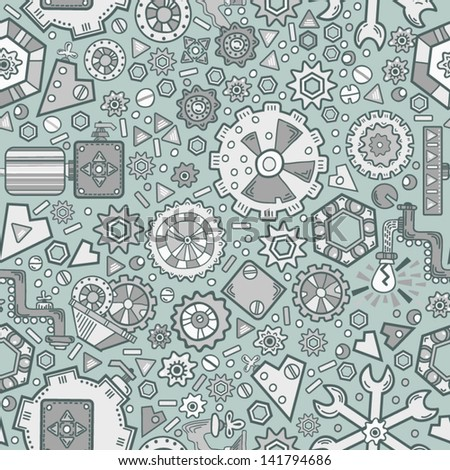 Vector seamless pattern with many of the technological details. Seamless pattern can be used for wallpapers, pattern fills, web page backgrounds,surface textures.