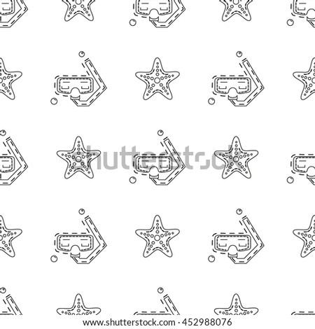 Vector seamless pattern with mask for diving and sea star in thin line stile.