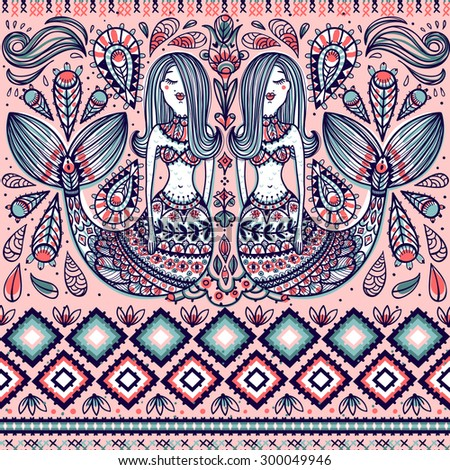 vector seamless pattern with mermaids and folk elements - stock vector