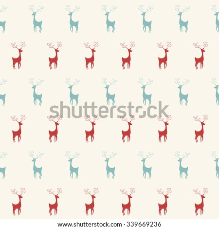 Vector seamless pattern with monochrome deers - stock vector