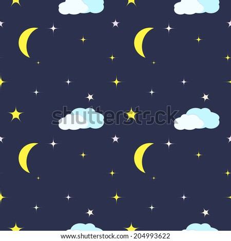Vector Seamless Pattern with night sky, moon and stars - stock vector