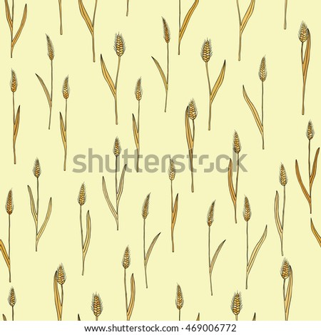 vector seamless pattern with of cartoon doodle wheat spikes