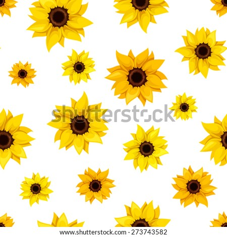 Vector seamless pattern with orange and yellow sunflowers on a white background. - stock vector