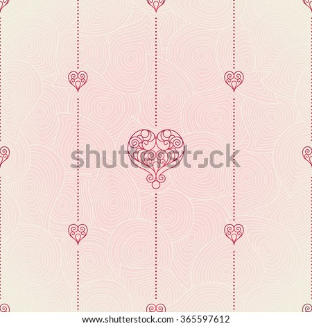 Vector seamless pattern with ornate hearts. Vintage design element in Eastern style. Ornamental lace tracery. Floral oriental ornament for wallpaper. Traditional decor on pink background. - stock vector