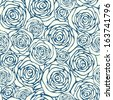 Vector seamless pattern with outline decorative roses. Beautiful floral background, neutral texture. Can be used for textile, website background, book cover, packaging, wedding invitation  - stock vector