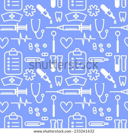 Vector seamless pattern with outline hand drawn medical icons - stock vector