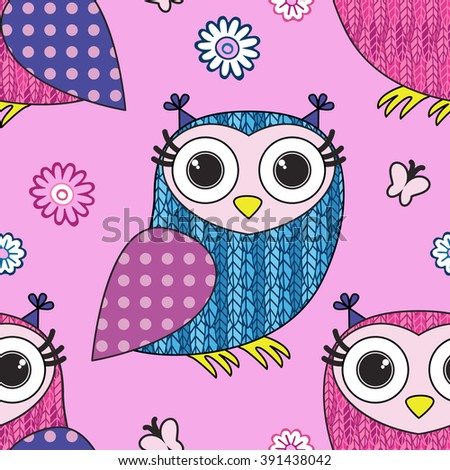 Vector seamless pattern with owls 8 - stock vector
