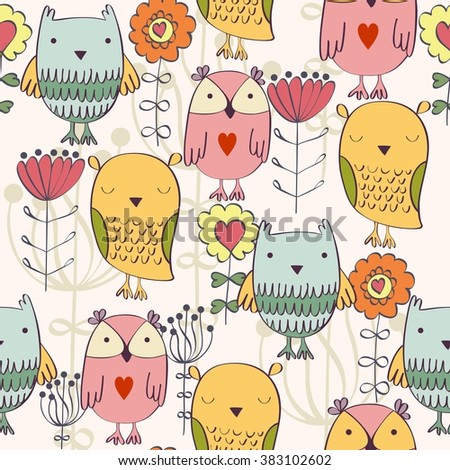 Vector seamless pattern with owls and flowers - stock vector